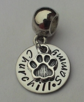 Hand stamped personalised cat or dog paw print bracelet charm
