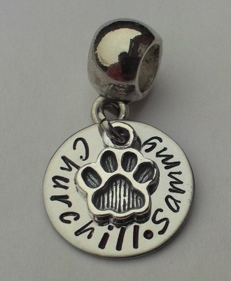 Cat or Dog Paw print Bracelet charm