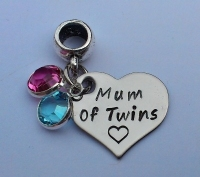 Hand stamped personalised mum of twins bracelet charm