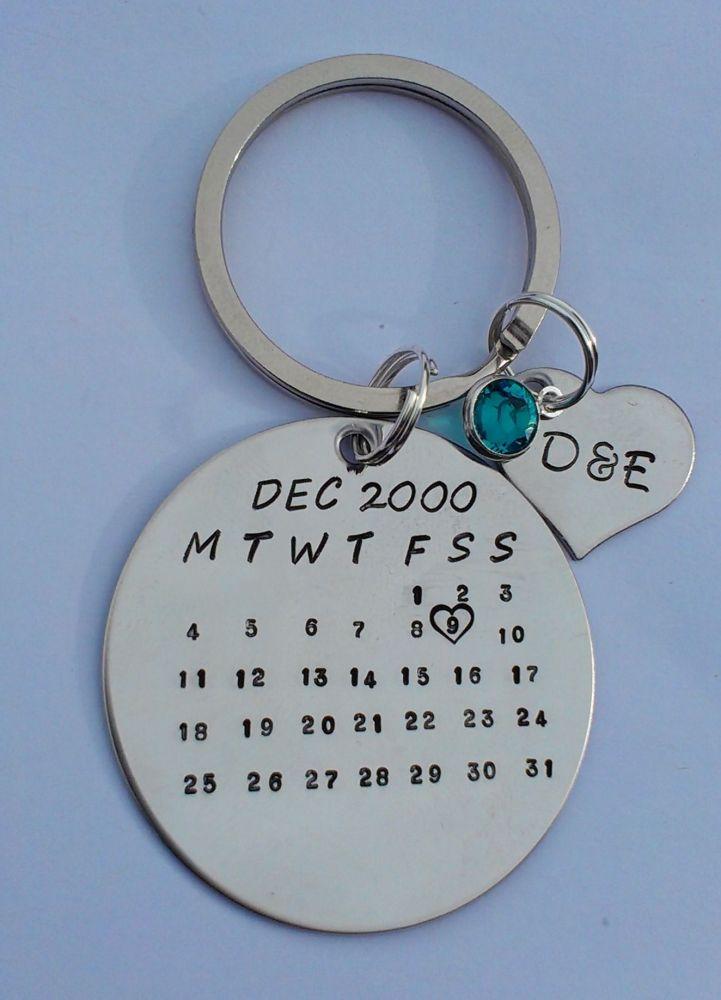 Hand stamped Calendar keyring
