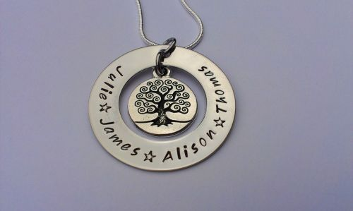 Family tree washer pendant