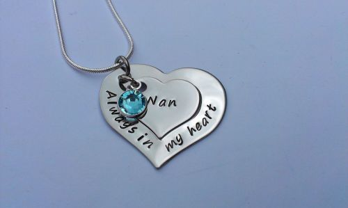 Hand stamped personalised Always in my heart remembrance necklace