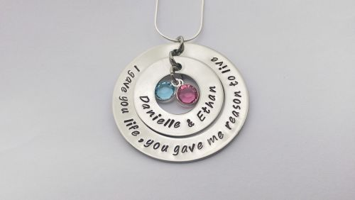 Hand Stamped personalised I gave you life, you gave me reason to live neckl