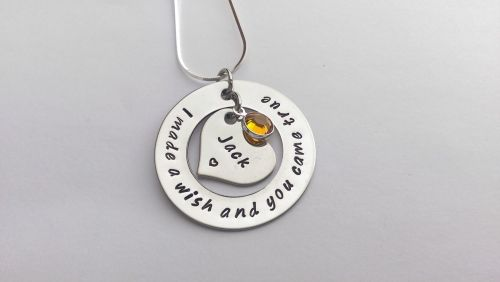 Hand stamped personalised I made a wish and you came true necklace (small)