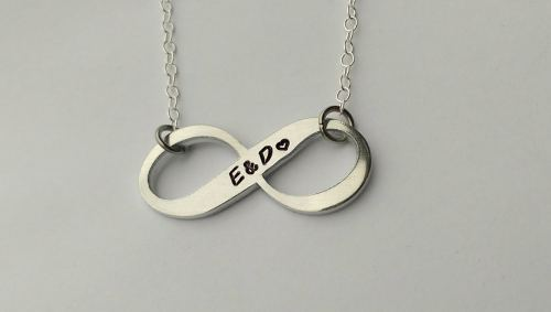 Hand stamped personalised Infinity name or initial necklace