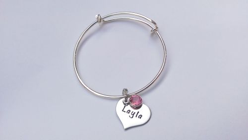 Hand stamped personalised childrens adjustable stainless steel charm bracel