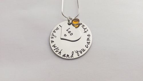 Hand stamped personalised I made a wish and you came true circle necklace (