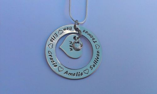 Hand stamped personalised Large round washer pendant with small inside hear