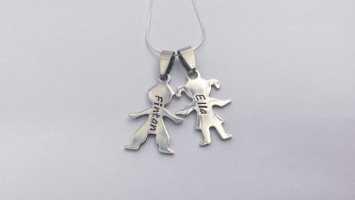 Hand Stamped personalised Boy Girl figure silhouette name necklace