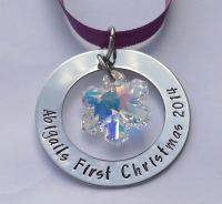 Hand Stamped personalised large washer Christmas tree decoration ornament with swarovski crystal snowflake charm