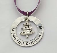 Hand Stamped personalised large washer Christmas tree decoration ornament with tibetan silver charm