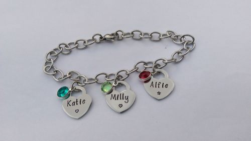 Hand Stamped personalised stainless steel charm bracelet with tiffany style