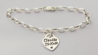 Sterling silver bracelet with hand stamped sterling silver 'lock' heart charm