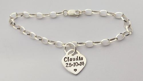 Sterling silver bracelet with hand stamped sterling silver tiffany style he