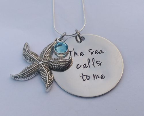Hand Stamped The Sea Calls to Me necklace