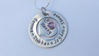Hand stamped personalised necklace (heart inside medium round washer)