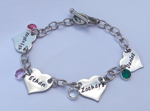 Personalised hand stamped heart bracelet