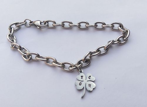 Hand Stamped personalised stainless steel four leaf clover charm bracelet
