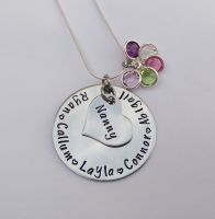 Hand stamped personalised name necklace with birthstone crystal cluster