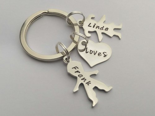 Hand Stamped personalised couples figure silhouette name keyring