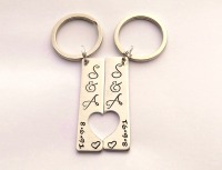 His and hers Couples personalised hand stamped keyrings
