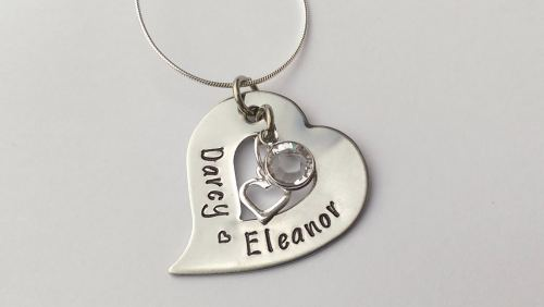 Tilted heart washer pendant