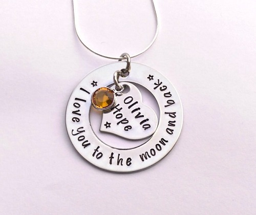 Hand stamped personalised I love you to the moon and back necklace (heart i