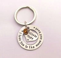 Hand stamped personalised I love you to the moon and back keyring (heart in washer)