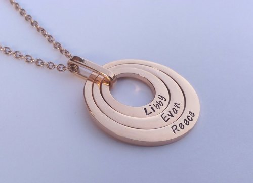 Rose Gold Offset floating washer necklace