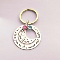I love you to the moon and back round keyring