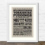 Yorkshire Pudding Print in White Frame