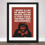 George Best Quote Print (Red) in Black Frame