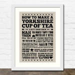 Yorkshire Cup of Tea Print in White Frame