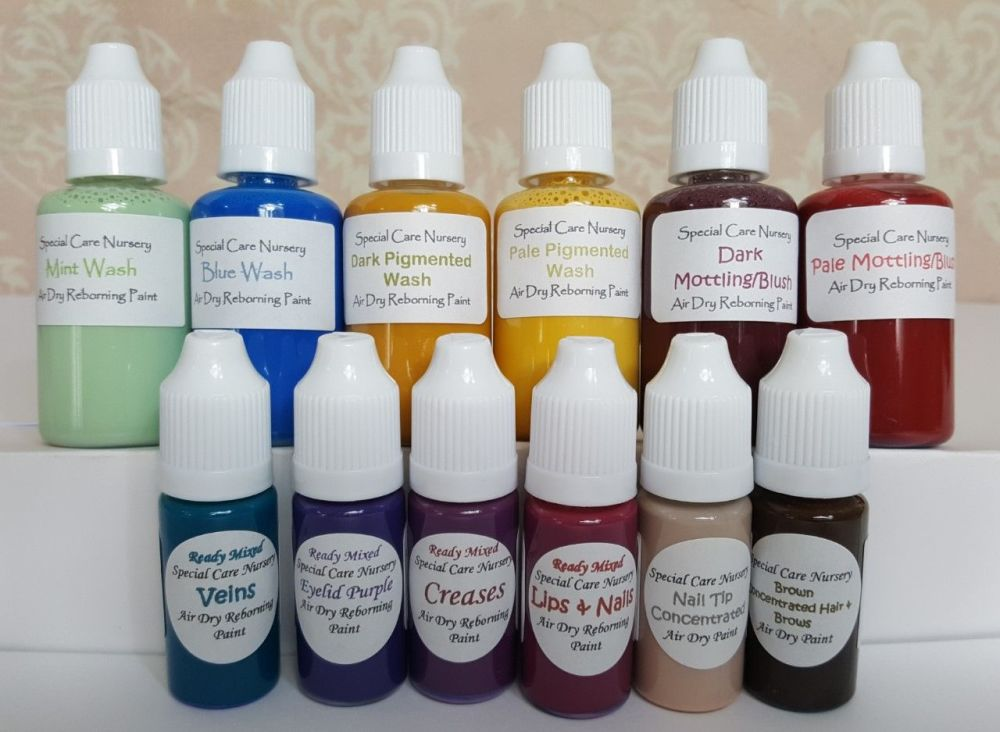 Special Care Nursery Air dry paints -  1 beginner set of 12 bottles