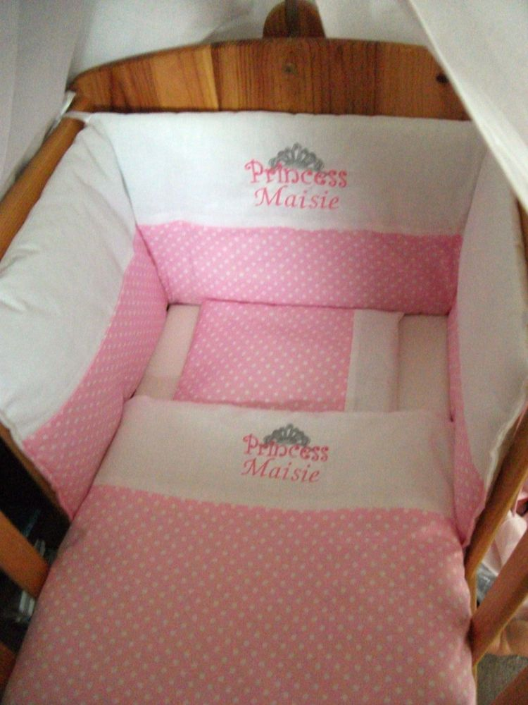 Beautiful Princess Tiara Personalised Baby Bedding Set