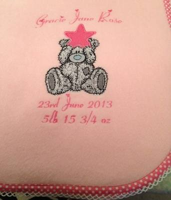 Teddy With A Star Personalised Fleece Blanket
