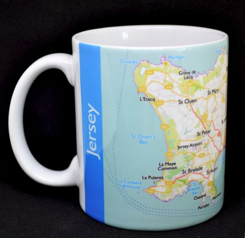 Jersey Map Mug with Blue Borders