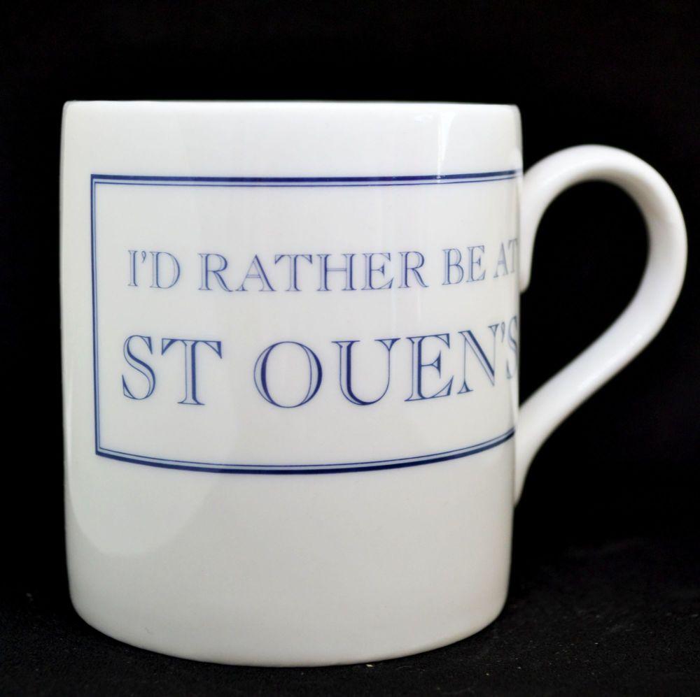 I'D RATHER BE AT ST OUEN'S  Mug in Blue