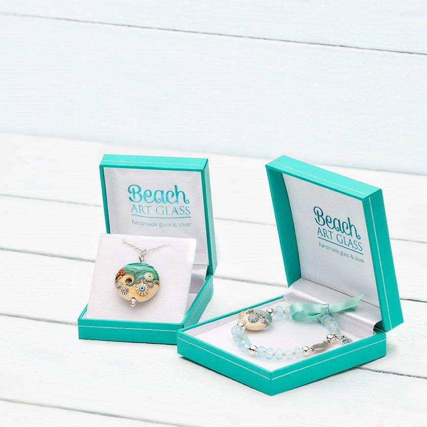 Beach Art Glass Handmade Silver Jewellery
