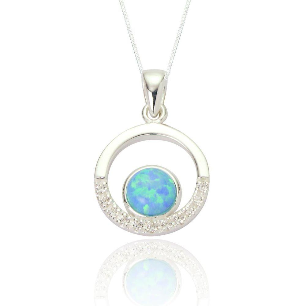 Maci Blue Opal CZ Circle Pendant