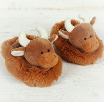 Fluffy Jersey Cow Baby Slippers by Jomanda WAS £12.95 NOW £10.00
