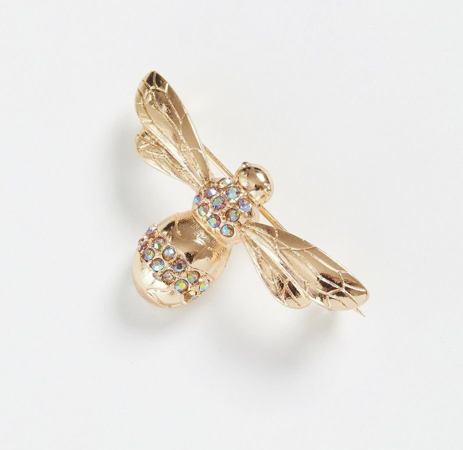 Gold Pave Bee Brooch