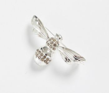 Silver Pave Bee Brooch