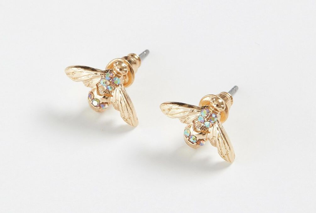 Gold Pave Bee Earring Studs
