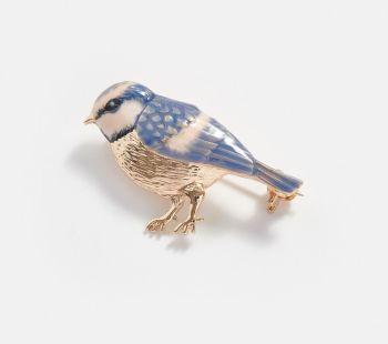 Enamelled Blue Tit Brooch