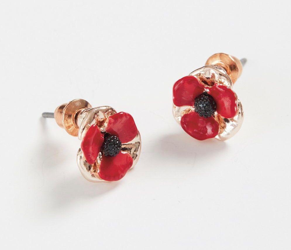 Enamelled Poppy Earring Studs