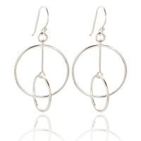 Leda Double Circle Drop Earrings