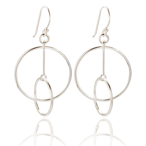 Leda Double Circle Drop Earrings