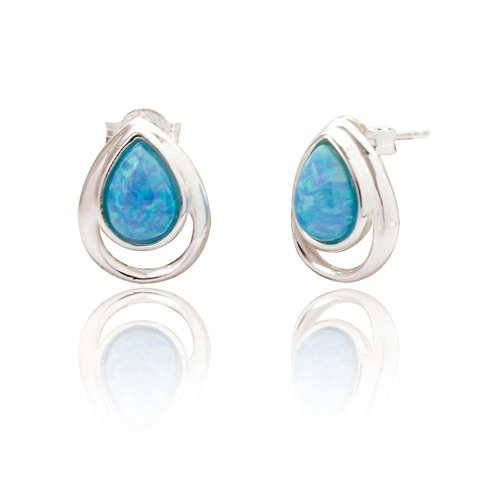 Xanna Tear Drop Blue Opal Studs