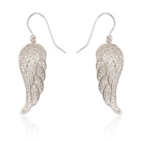 Angel Wing Drop Silver Earrings